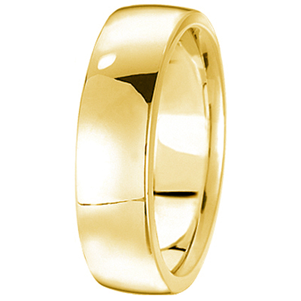 Men's Wedding Ring Low Dome Comfort-Fit in 14k Yellow Gold (6mm)