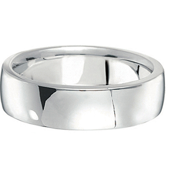 Men's Wedding Ring Low Dome Comfort-Fit in 18k White Gold (6mm)