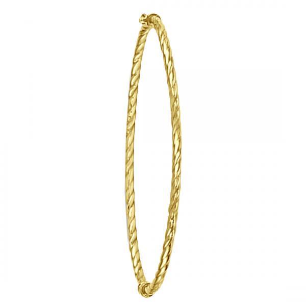 Twist Hinged Bangle Bracelet in Plain Metal 14k Yellow Gold