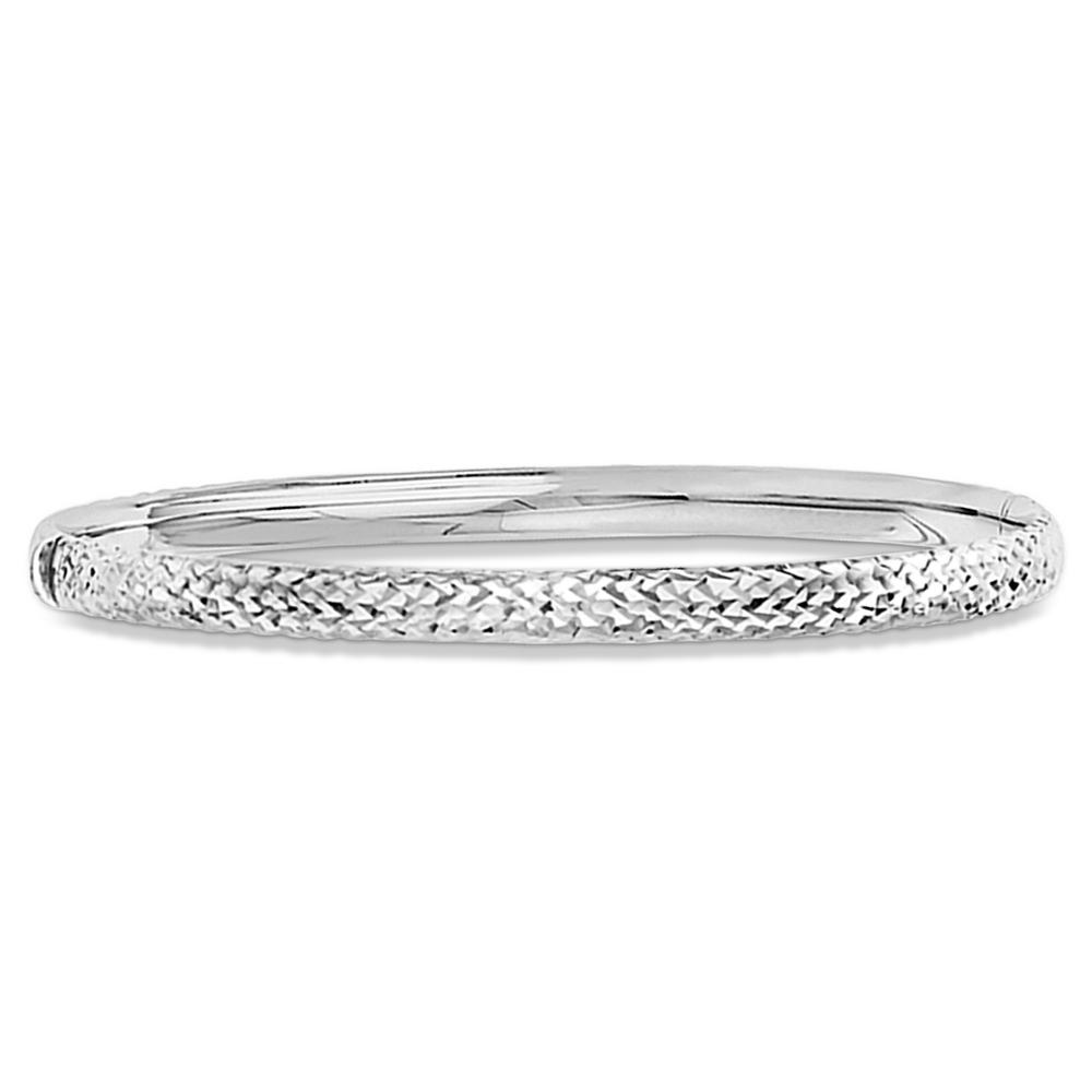 White Gold Cuff Bracelet: Diamond-Cut Hinged Stackable Bangle Bracelet 14k White