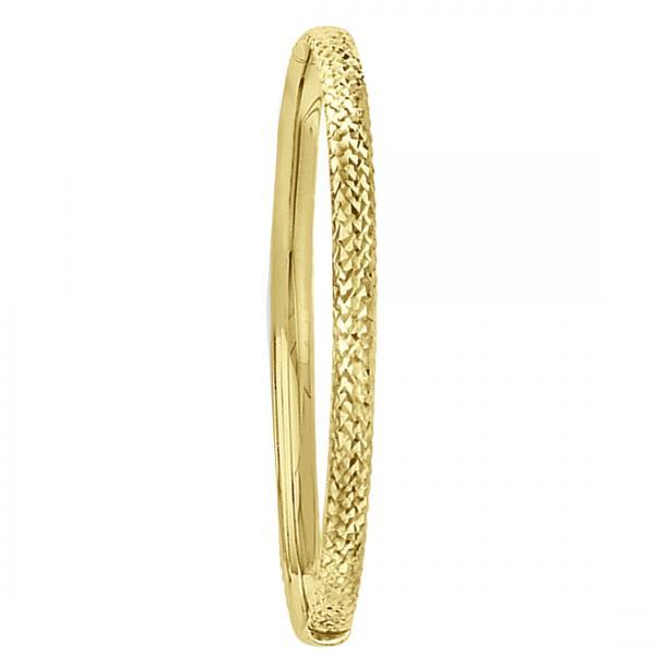 Diamond-Cut Hinged Bangle Bracelet in Plain Metal 14k Yellow Gold