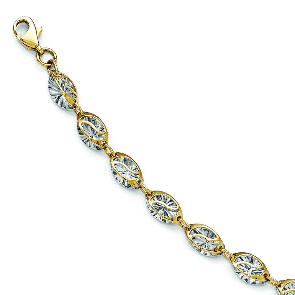 Polished diamond shaped ladies illusion bracelet 14k two for What is gold polished jewelry