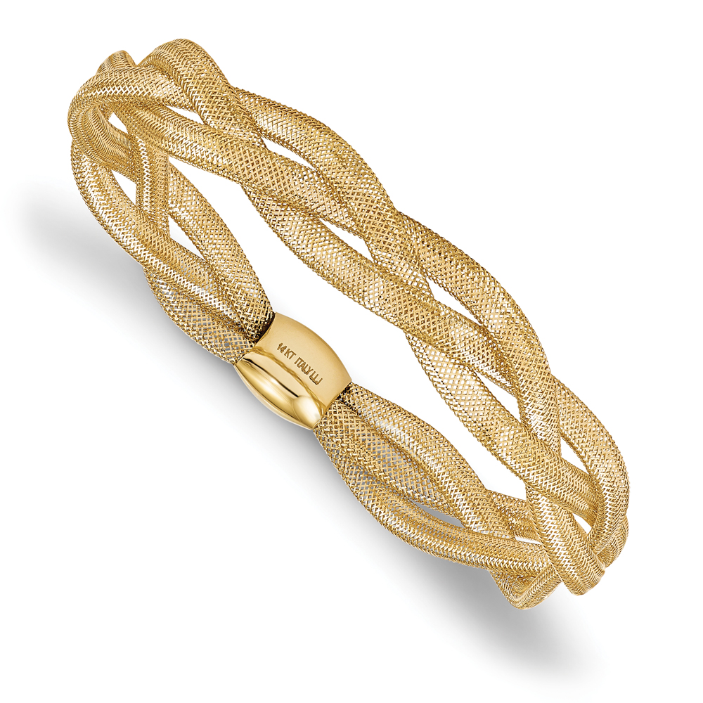 Fancy Braided Stretchable Mesh Link Bangle Bracelet 14k Yellow Gold