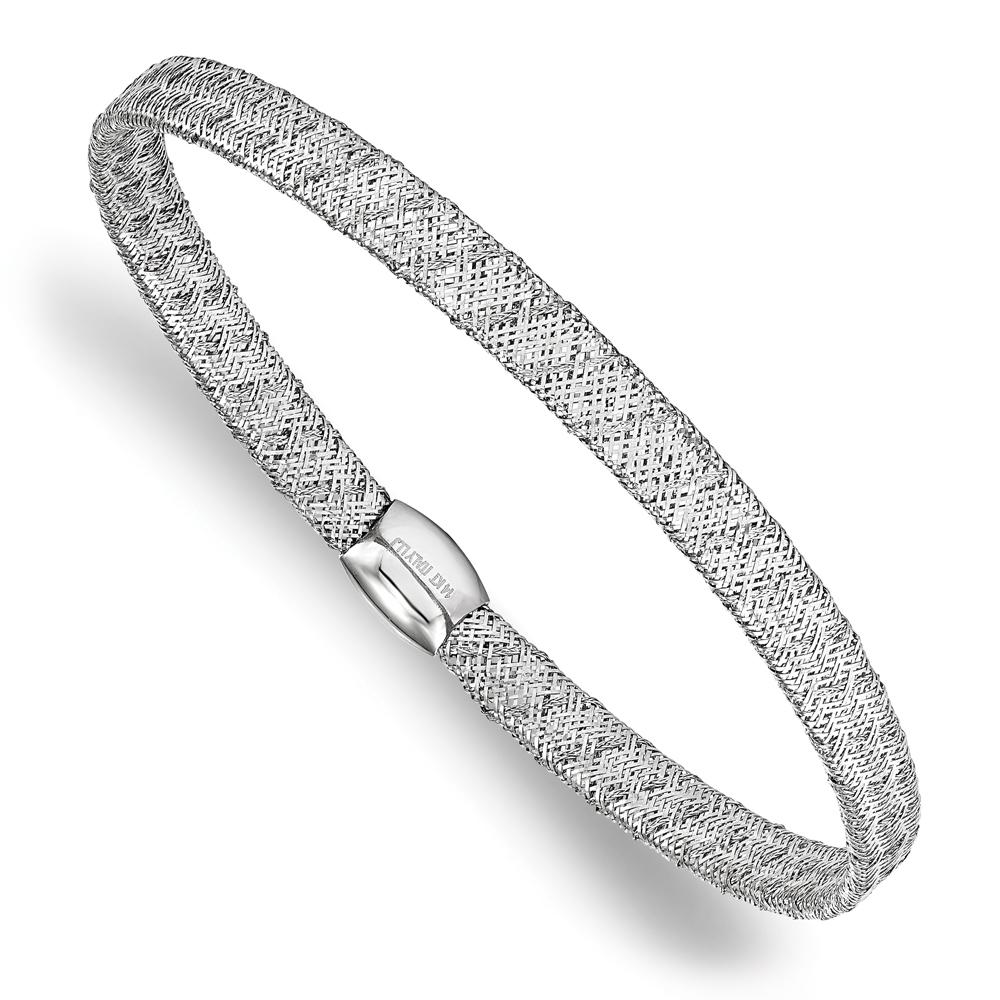 White Gold Cuff Bracelet: Fancy Mesh & Flexible Stretch Bangle Bracelet 14k White