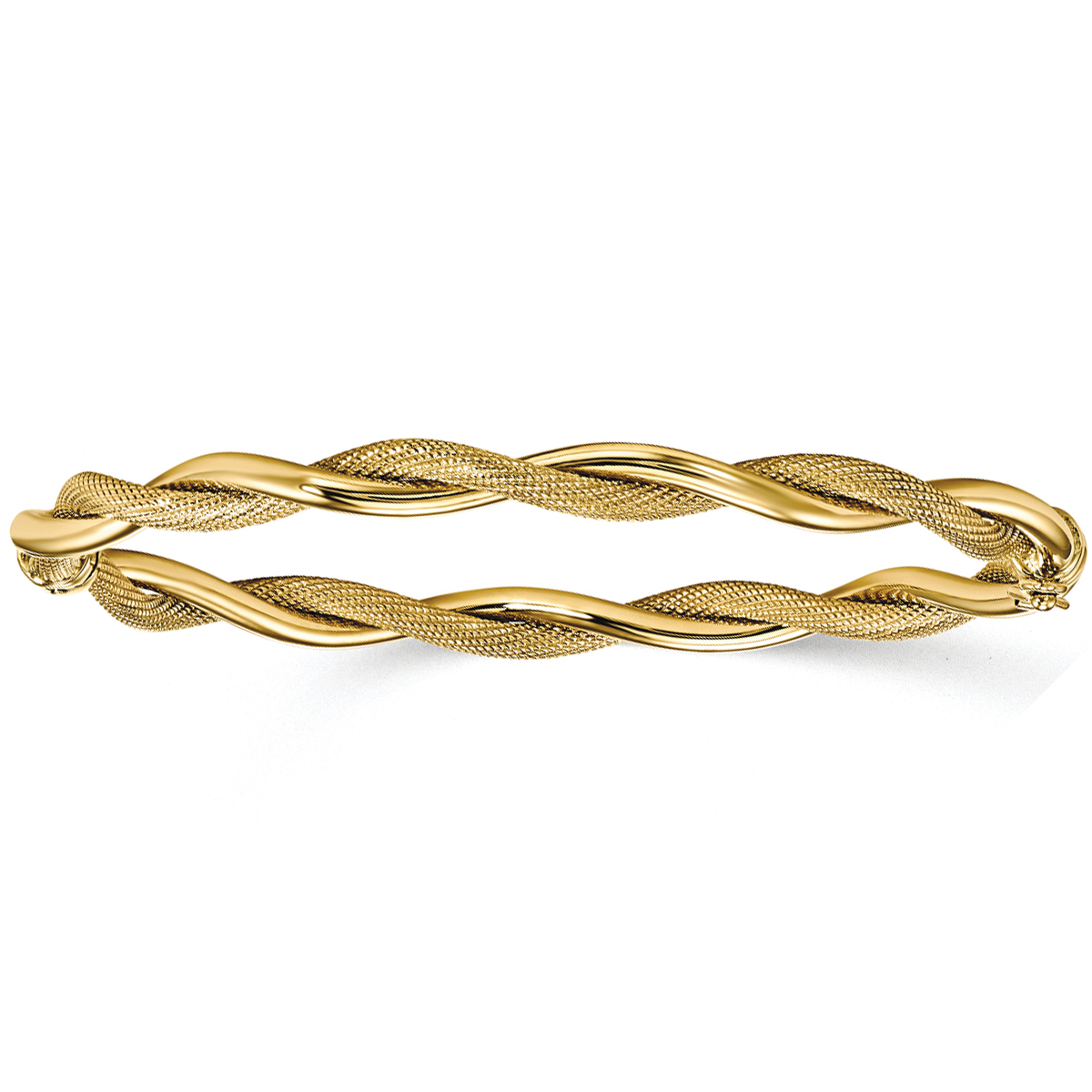 Polished textured fold over twisted bangle bracelet 14k for What is gold polished jewelry