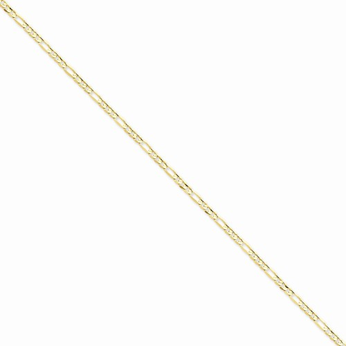 Concave Open Figaro Chain Necklace in 14k Yellow Gold