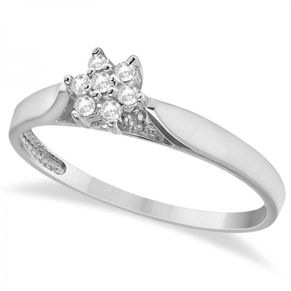 Cluster Flower Diamond Promise Ring 14K White Gold (0.10ct)
