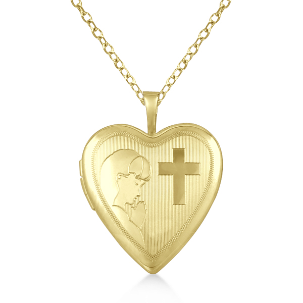 Heart Locket Pendant First Holy Communion Design Vermeil