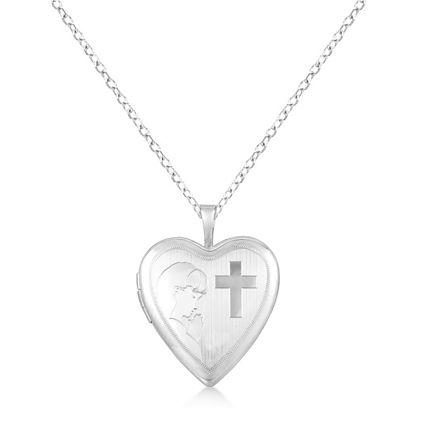 Heart Locket Pendant First Holy Communion Design Sterling Silver