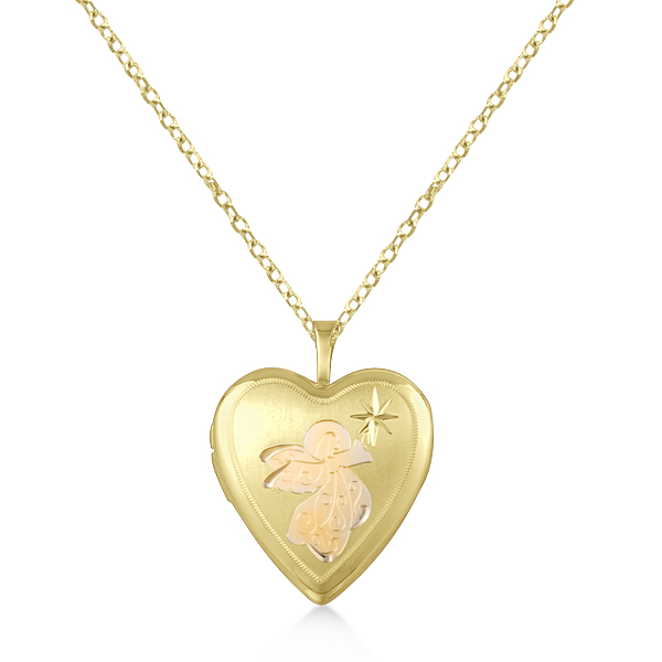Heart Pendant Locket Necklace w/ Angel & Star Design Vermeil
