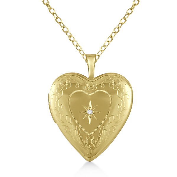 Gold Vermeil Vintage Engraved Heart Diamond Locket Necklace (.01ct)