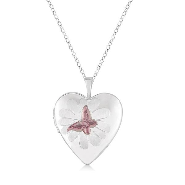 Heart Shaped Butterfly Design Pendant Locket w/ Flower Sterling Silver