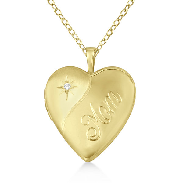 "Gold Vermeil ""Mom"" Engraved Heart Diamond Locket Necklace (0.01ct)"