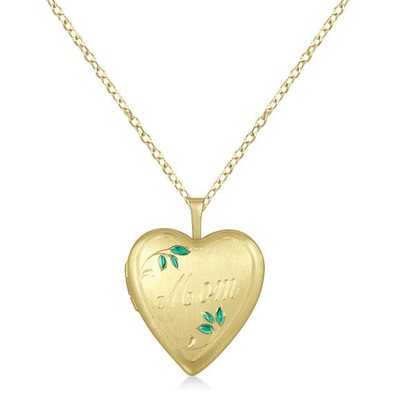 Heart Shaped Mom Engraving Locket Necklace Pendant Gold Vermeil