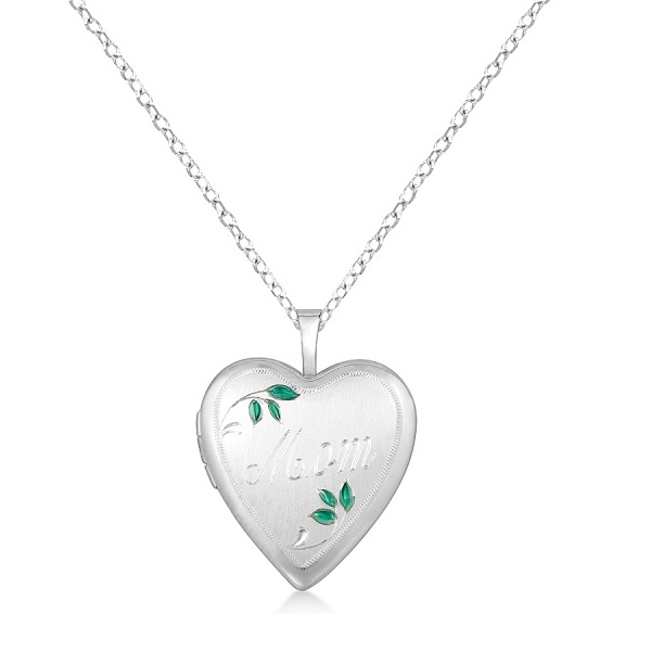 Heart Shaped Mom Engraving Locket Necklace Pendant Sterling Silver
