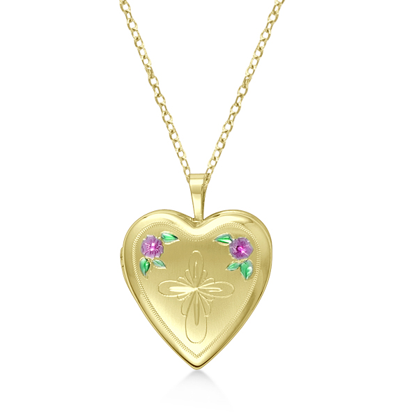 Heart Shaped Cross & Flower Pendant Locket Gold Vermeil
