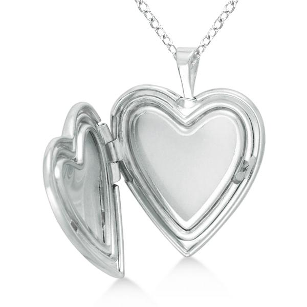 Heart Shaped Cross & Flower Pendant Locket Sterling Silver