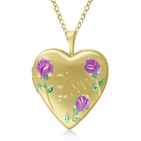 Flower Design Heart Locket Necklace w/ Love Engraving Gold Over Silver