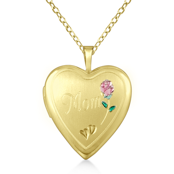 Heart Shaped Flower Pendant Locket w/ Mom Engraving Vermeil