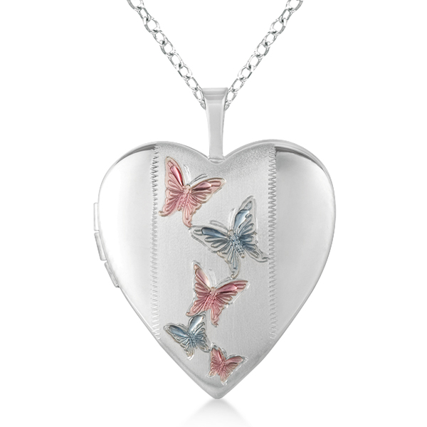 Heart Shaped Butterfly Design Pendant Locket Necklace Sterling Silver