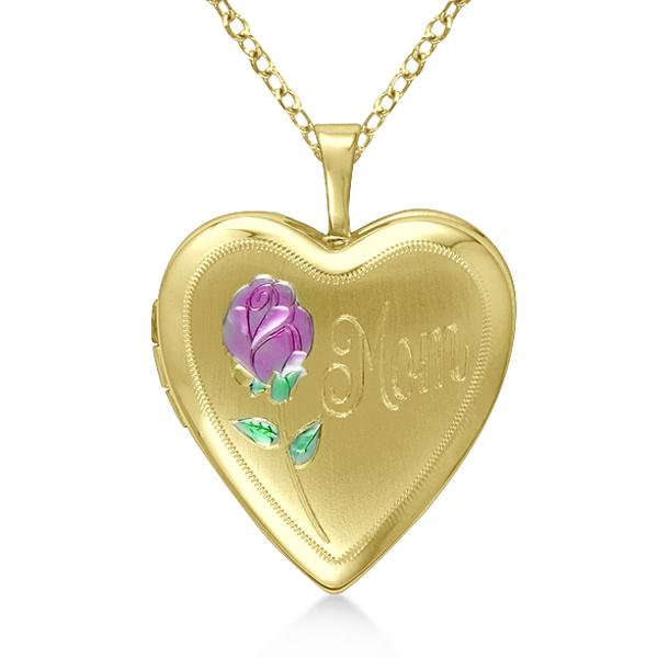 Heart Shaped Mom Engraved Pendant w/ Flower Locket Gold Vermeil