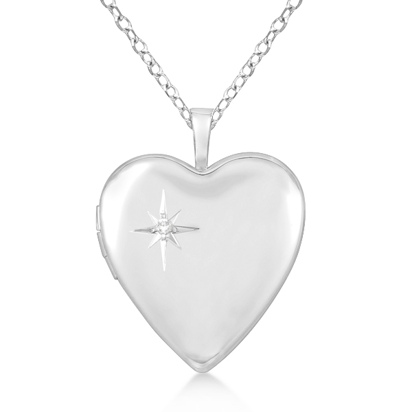 Sterling Silver Heart-Shaped Diamond Star Locket Necklace (0.01ct.)