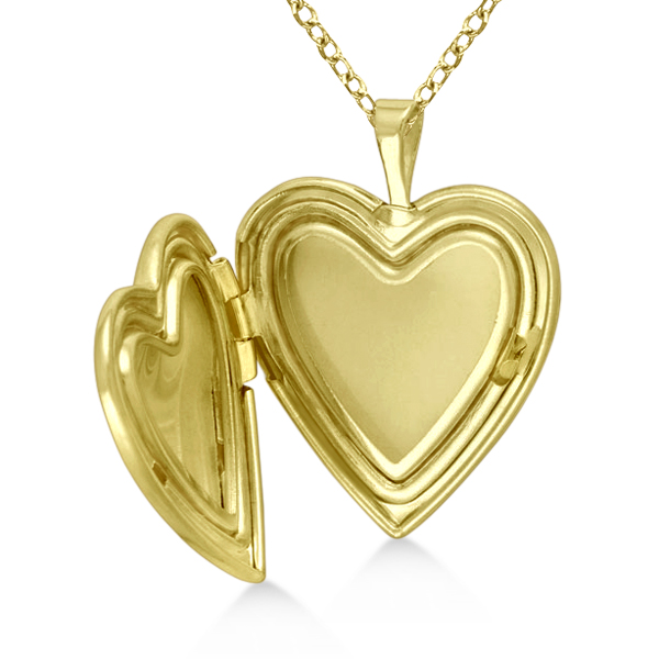 Engraved Heart Shaped Locket Necklace Flower & Bird Gold Vermeil