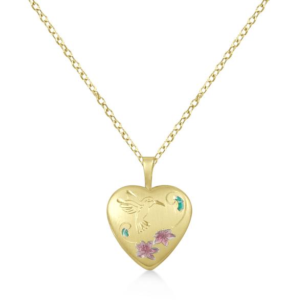 Engraved Heart Shaped Locket Necklace Flower & Bird Gold Vermeil