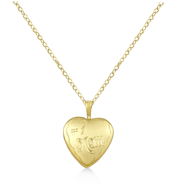 No. 1 Mom Heart Shaped Photo Locket Pendant Gold Vermeil