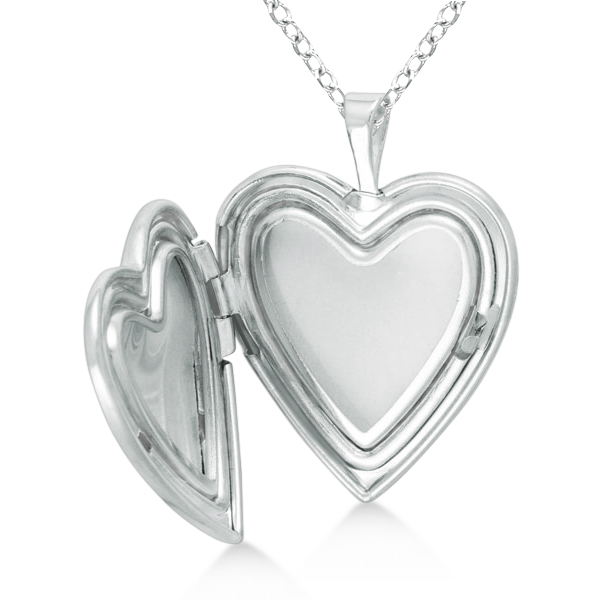 Heart Photo Locket Pendant w/ I Love You Engraving Sterling Silver