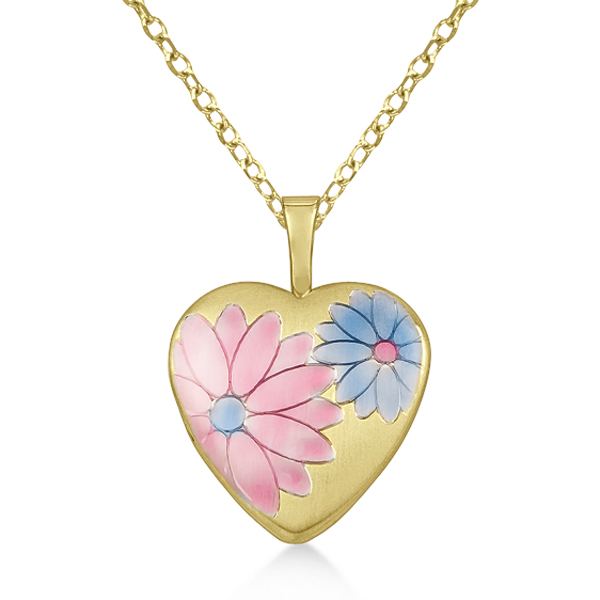 Flower Design Heart Locket Pendant Polished Finish Gold Vermeil