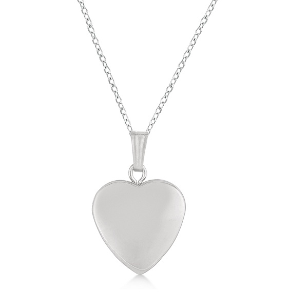 Heart Shaped Polished Finish Pendant Locket Sterling Silver