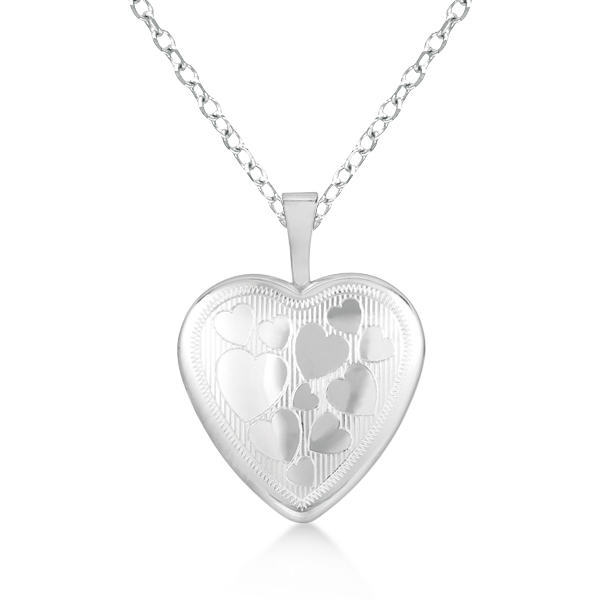 Photo Locket Pendant Necklace w/ Hearts Engraving Sterling Silver