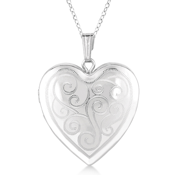 Heart Shaped Twisted Style Pendant Locket Sterling Silver