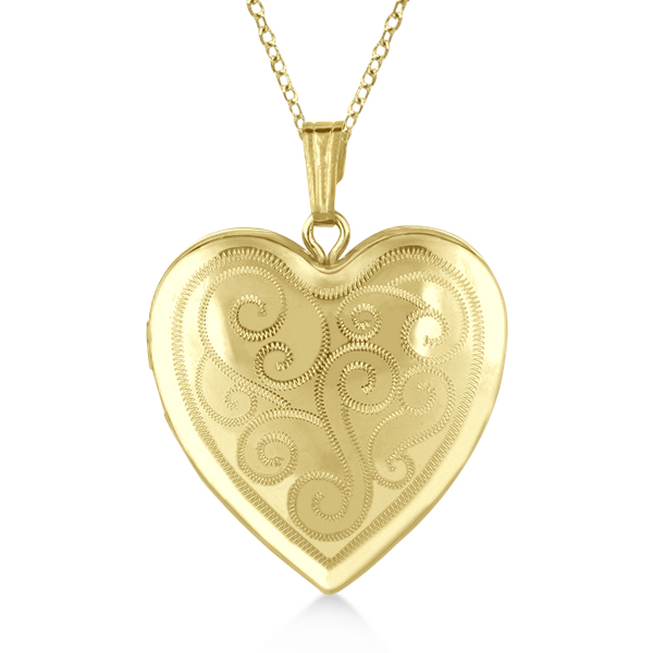 Heart Shaped Twisted Style Pendant Locket Gold Vermeil