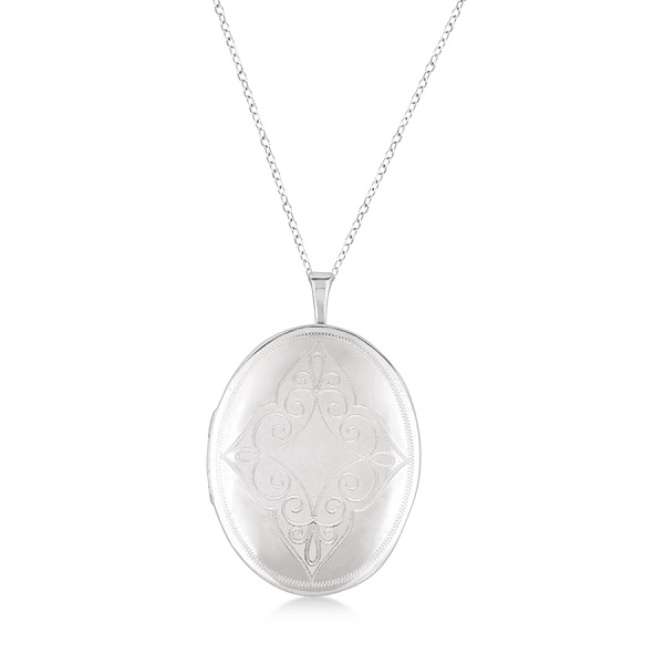 Antique Style Oval Milgrained Edge Locket Necklace Sterling Silver