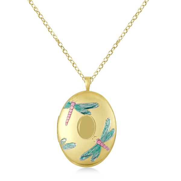 Oval Shaped Locket Pendant Colored Dragonflies Design Gold Vermeil