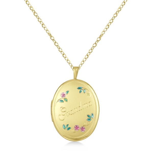 Oval Shaped Photo Locket Grandma Design Pendant Gold Vermeil
