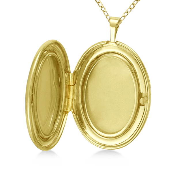 Oval Photo Locket Pendant w/ I Love You Engraving Gold Vermeil