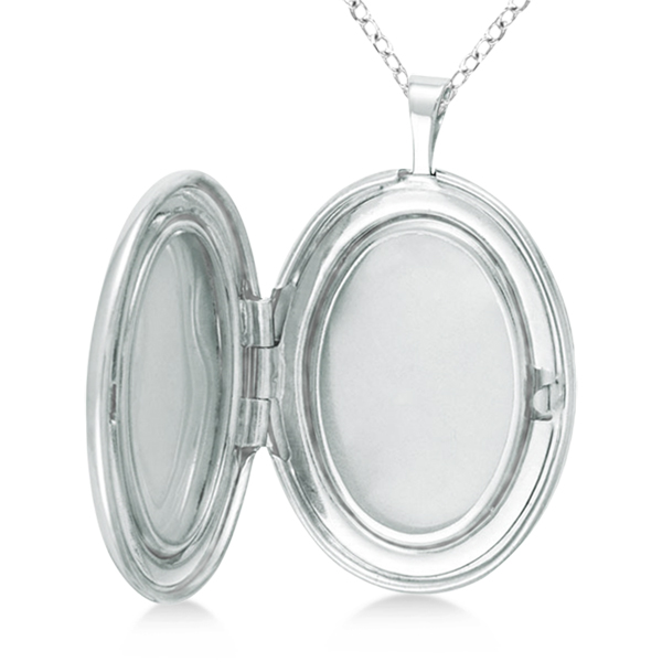 Oval Pendant Photo Locket w/ Love Engraving & Flower Sterling Silver