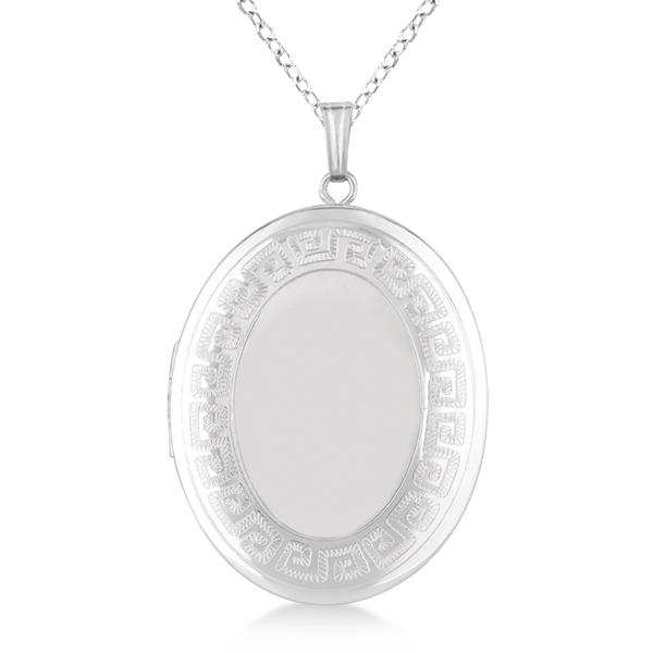 Oval Heirloom Necklace Locket w/ Greek Key Border Sterling Silver