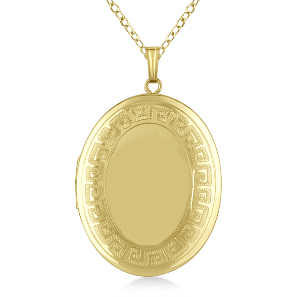 Oval Heirloom Necklace Locket w/ Greek Key Border Gold Vermeil