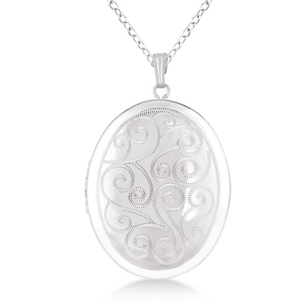 Vintage Oval Filigree Design Pendant Locket Necklace Sterling Silver