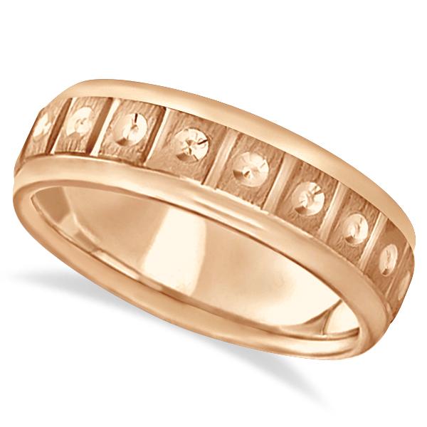 Satin Finish Fancy Carved Wedding Ring For Men 14k Rose Gold (7mm)