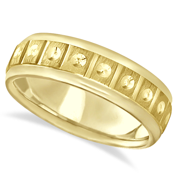 Satin Finish Fancy Carved Wedding Ring For Men 14k Yellow Gold (7mm)