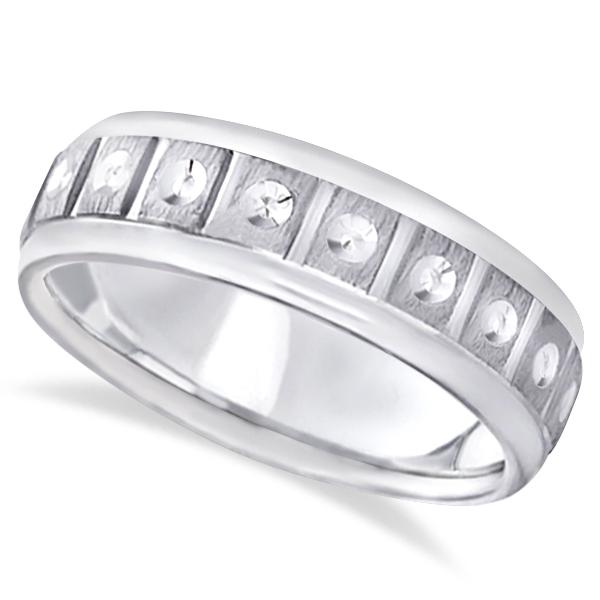 Satin Finish Fancy Carved Wedding Ring For Men 18k White Gold (7mm)
