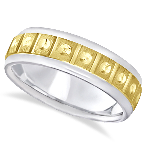Satin Finish Fancy Carved Wedding Ring For Men 18k Two Tone Gold (7mm)