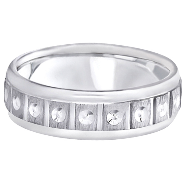 Satin Finish Fancy Carved Wedding Ring For Men Palladium (7mm)
