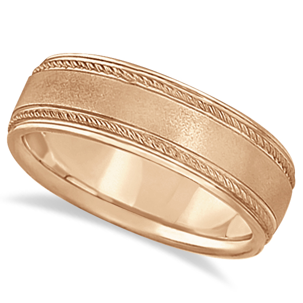 Matt Finish Men's Wedding Ring Milgrain 14k Rose Gold (7mm)