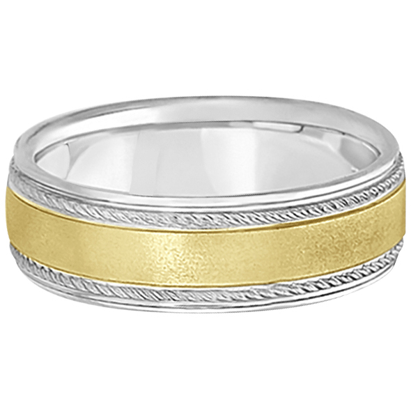 Matt Finish Two Tone Wedding Ring Milgrain 14k Gold (7mm)
